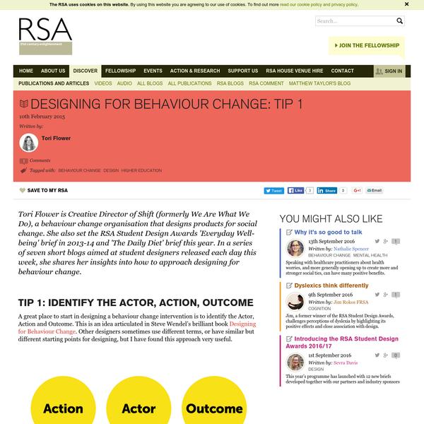 Designing for behaviour change: Tip 1 - RSA