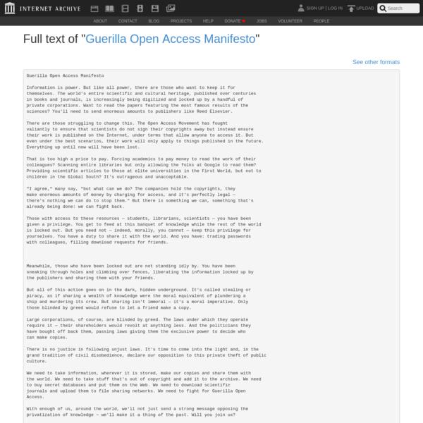 """Full text of """"Guerilla Open Access Manifesto"""""""