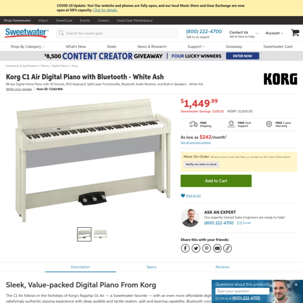 Korg C1 Air Digital Piano with Bluetooth - White Ash | Sweetwater