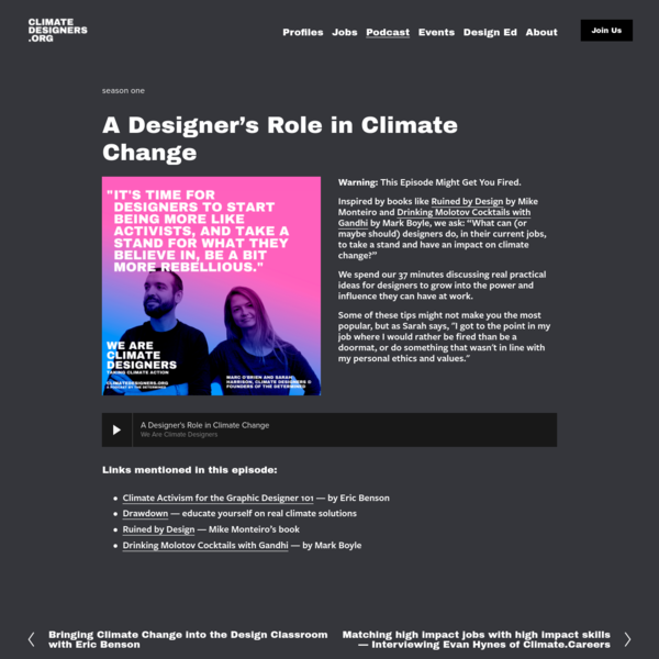 A Designer's Role in Climate Change - Climate Designers Climate Designers