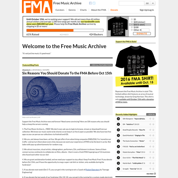 Support the Free Music Archive now and forever! Need some convincing? Here are SIX reasons why you should help us keep the servers running: 1. The Free Music Archive is... FREE! We don't even ask you to login to browse, stream or download from our collection.