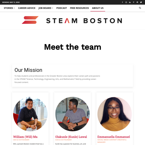 About Us - STEAM Boston - Career Advice and Stories for Students & Professionals