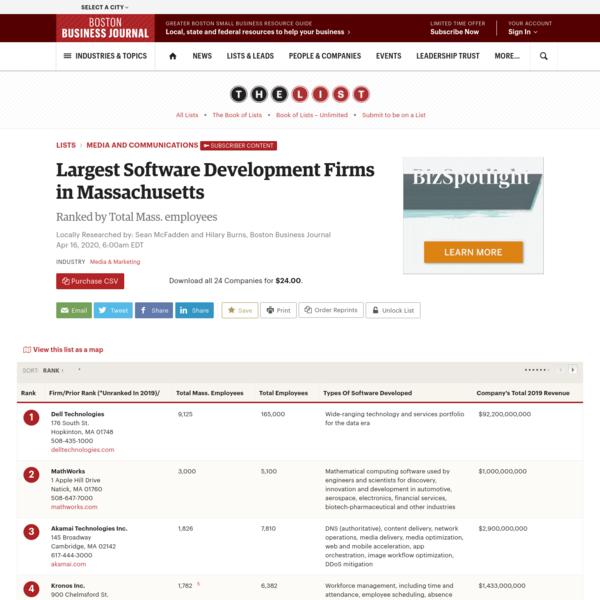 Largest Software Development Firms in Massachusetts - Boston Business Journal