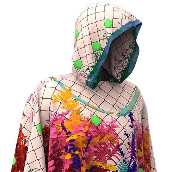 Jonathan Zawada, digital pattern, collage on a piece of clothing