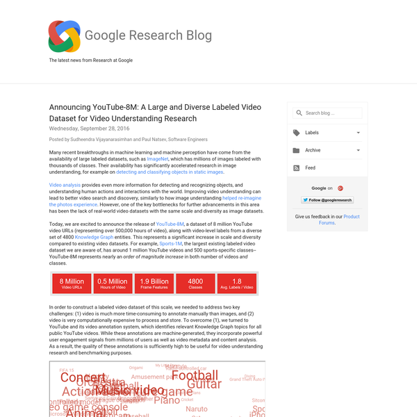 Many recent breakthroughs in machine learning and machine perception have come from the availability of large labeled datasets, such as ImageNet, which has millions of images labeled with thousands of classes. Their availability has significantly accelerated research in image understanding, for example on detecting and classifying objects in static images.