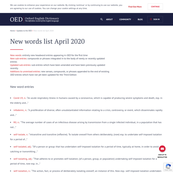 New words list April 2020 | Oxford English Dictionary