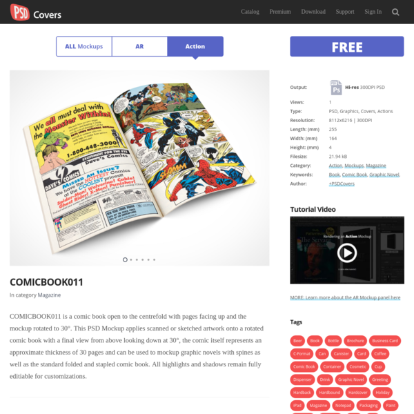COMICBOOK011 * Market Your PSD Mockups for comic