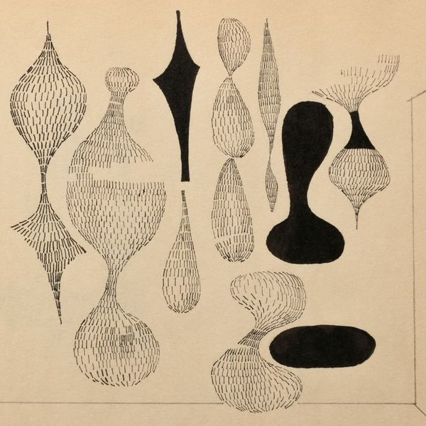 Sewell Sillman, detail from notebook sketch [of Ruth Asawa sculptures], 1949. Black Mountain College Museum + Arts Center permanent collection. Gift of the Estate of Sewell Sillman and Adam Tamsky.