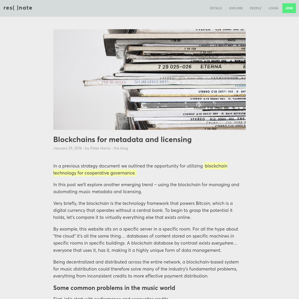 Blockchains for metadata and licensing - Resonate