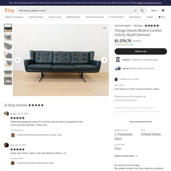 Vintage Danish Modern Leather Sofa by Skjold Sørensen