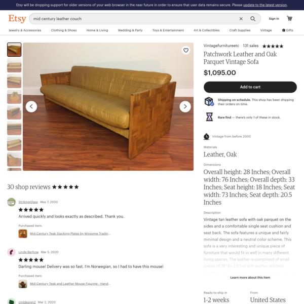 Patchwork Leather and Oak Parquet Vintage Sofa