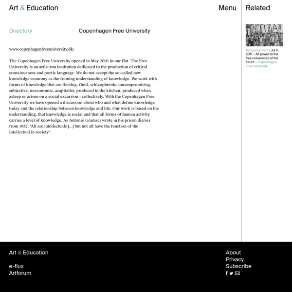 Copenhagen Free University - Directory - Art & Education