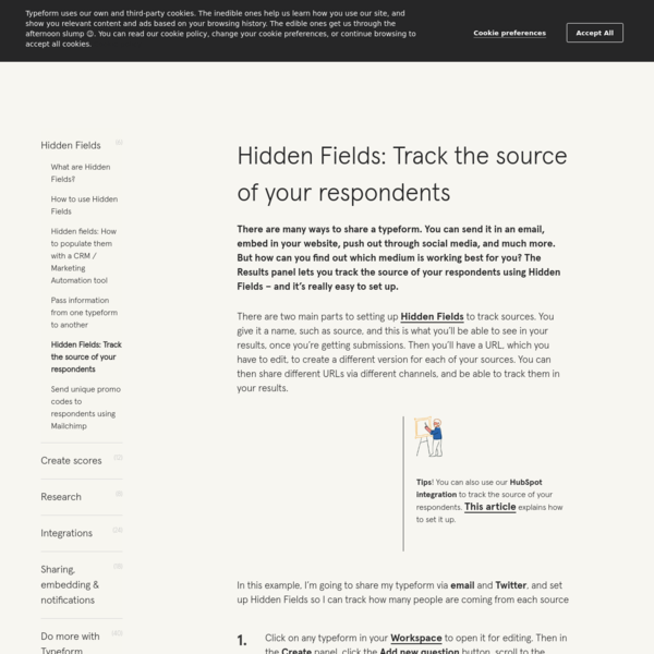Hidden Fields: Track the source of your respondents