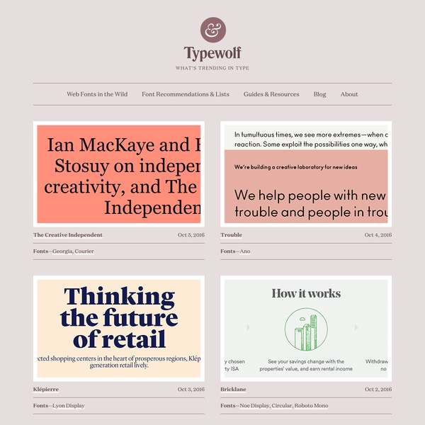 Typography Inspiration for the Modern Web · Typewolf