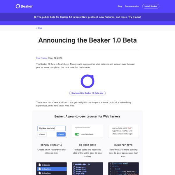 Announcing the Beaker 1.0 Beta