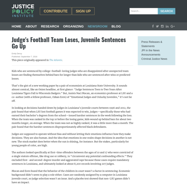 Judge's Football Team Loses, Juvenile Sentences Go Up - Justice Policy Institute