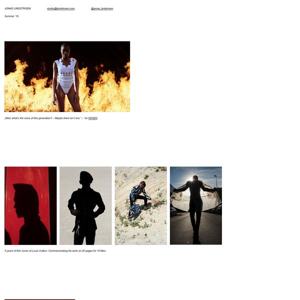 JONAS LINDSTROEM - Photographer, Director. Current Works. Berlin, London.