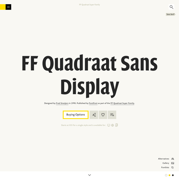 FF Quadraat Sans Display is a typeface designed by Fred Smeijers, and is available for Desktop, Web, and App+. Try, buy and download these fonts now!