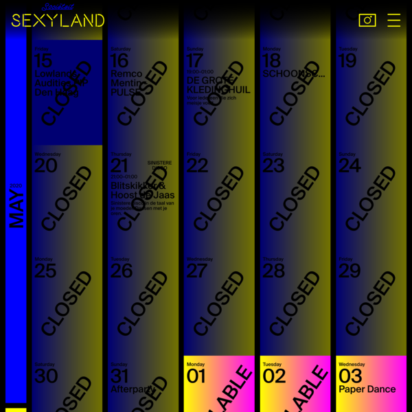 SEXYLAND, A CONCEPTUAL CLUB, EVERY DAY A DIFFERENT OWNER