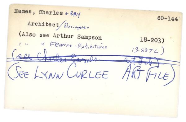 The Eameses' entry in the card catalogue of The New York Times's photo archive.