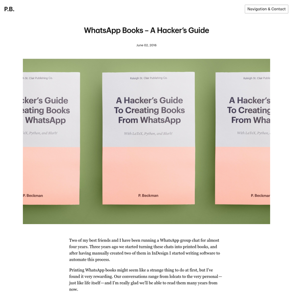 Two of my best friends and I have been running a WhatsAppgroup chat for almost four years. Three years ago we started turning these chats into printed books, and after having manually created two of them in InDesign I started writing software to automate this process.