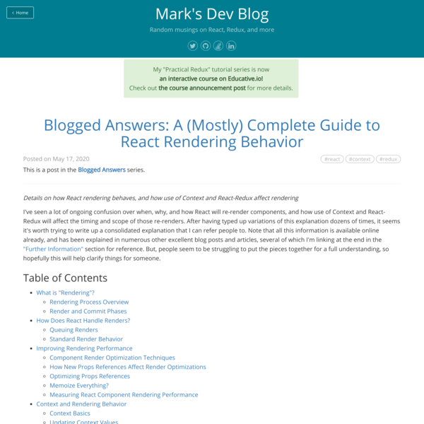 Blogged Answers: A (Mostly) Complete Guide to React Rendering Behavior · Mark's Dev Blog