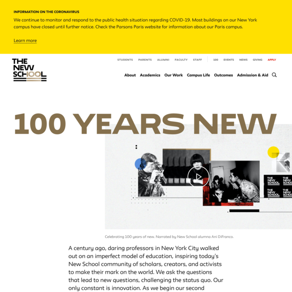 100 Years New | The New School Centennial