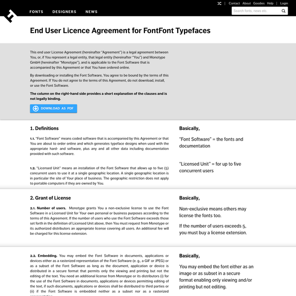 End User Licence Agreement for FontFont Typefaces