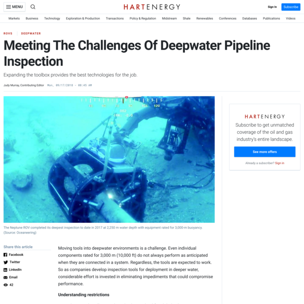 Meeting The Challenges Of Deepwater Pipeline Inspection