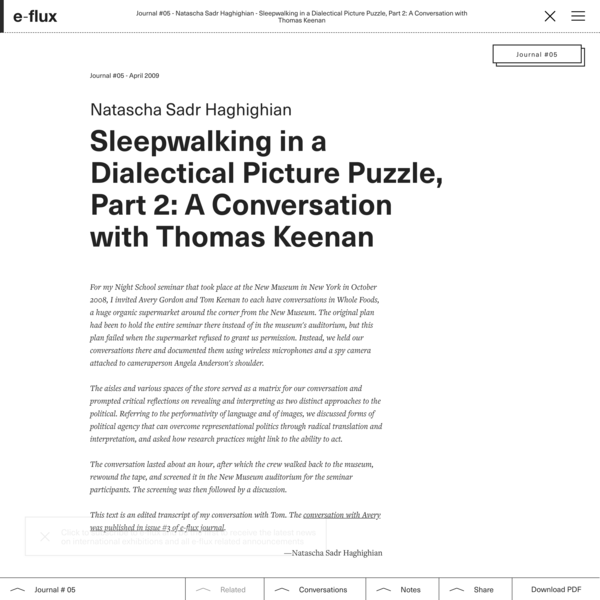 Sleepwalking in a Dialectical Picture Puzzle, Part 2: A Conversation with Thomas Keenan - Journal #5 April 2009 - e-flux