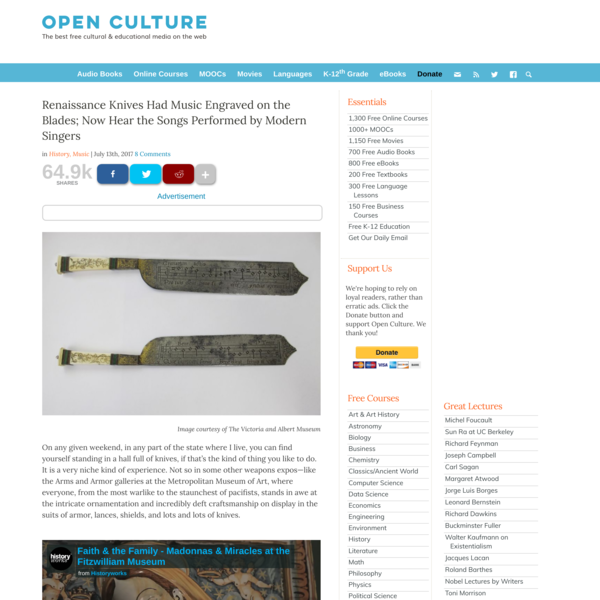 Renaissance Knives Had Music Engraved on the Blades; Now Hear the Songs Performed by Modern Singers | Open Culture