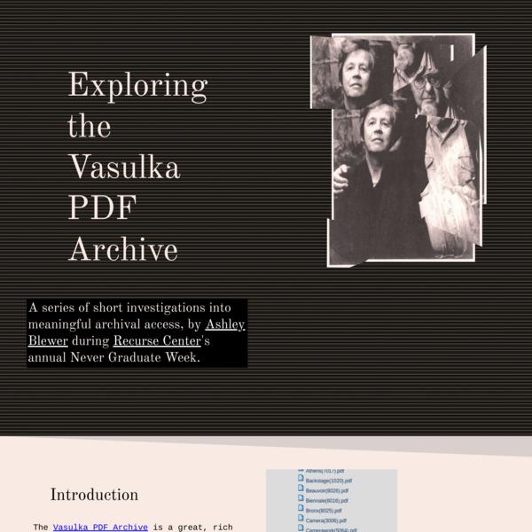 Exploring the Vasulka PDF Archive