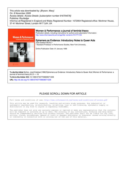 Ephemera as Evidence: Introductory Notes to Queer Acts, J Munoz