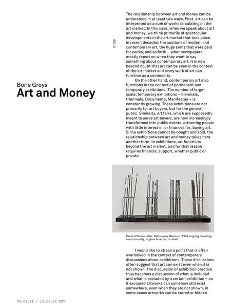 Boris Groys – Art and Money / e-flux Journal 4/2011