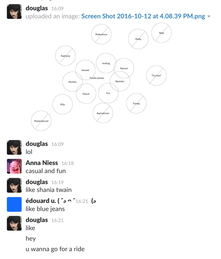 A screenshot of Doug, Anna, and I riffing off one another
