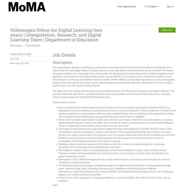 MoMA, Fellow for Digital Learning