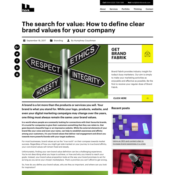 The Search For Value: Defining Clear Brand Values For Your Company