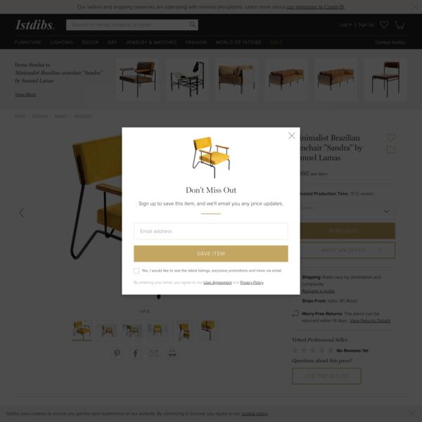 "Minimalist Brazilian armchair ""Sandra"" by Samuel Lamas For Sale at 1stdibs"