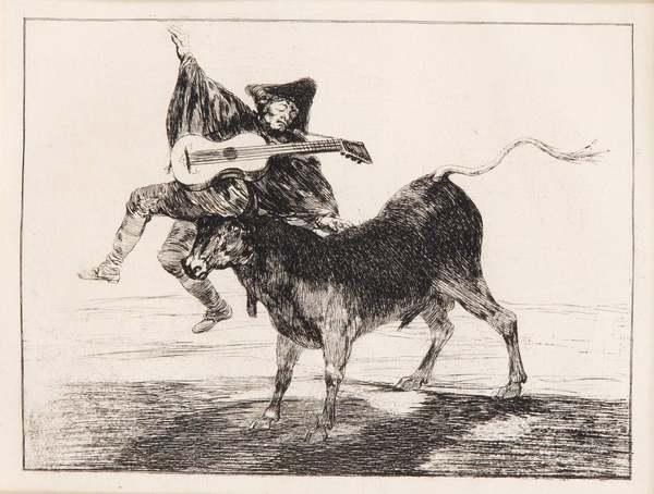 Goya - Aveugle enleve sur les cornes d'un taureau - 1867