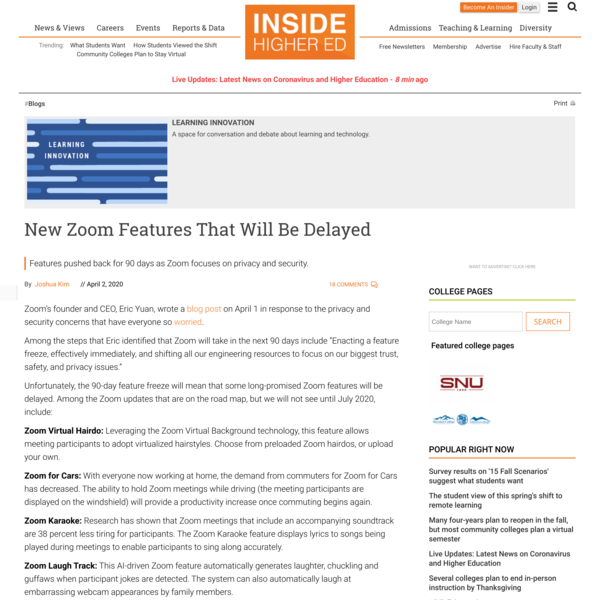New Zoom Features That Will Be Delayed | Inside Higher Ed