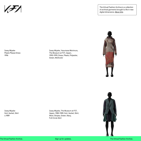 The Virtual Fashion Archive — A collection of garments brought to life in new digital dimensions.