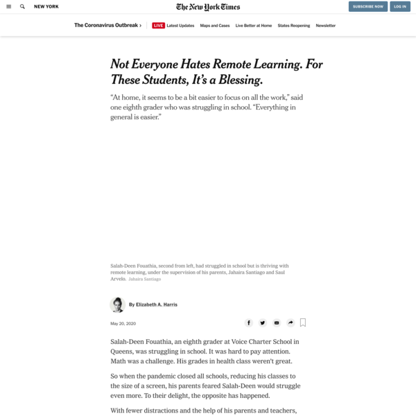 Not Everyone Hates Remote Learning. For These Students, It's a Blessing. - The New York Times