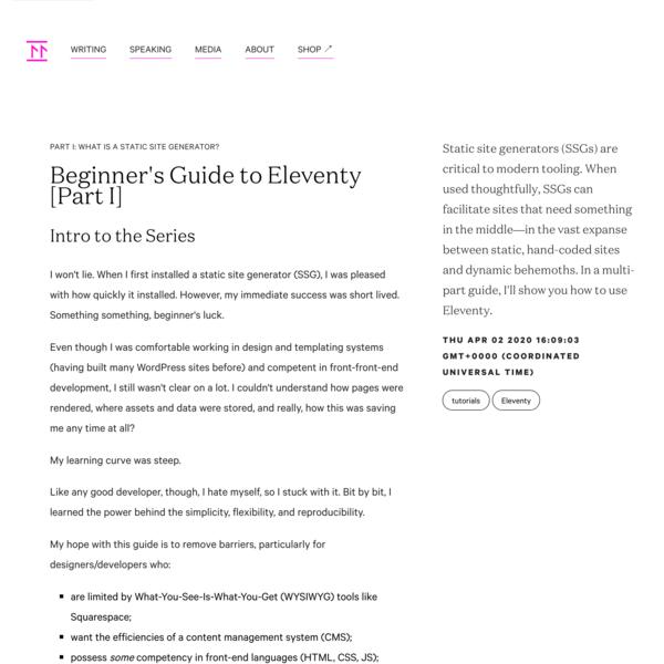 Beginner's Guide to Eleventy [Part I]