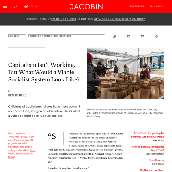 Capitalism Isn't Working. But What Would a Viable Socialist System Look Like?