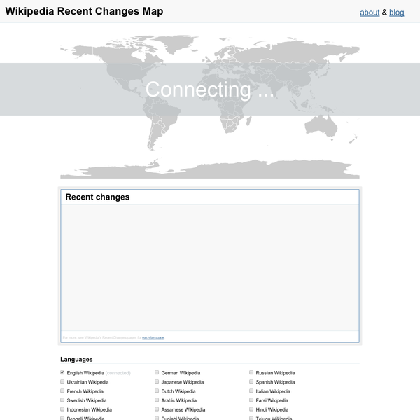 A map of recent contributions to Wikipedia from unregistered users.