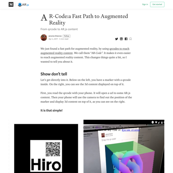 AR-Code:a Fast Path to Augmented Reality