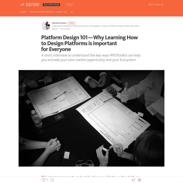 Platform Design 101 - Why Learning How to Design Platforms is important for Everyone