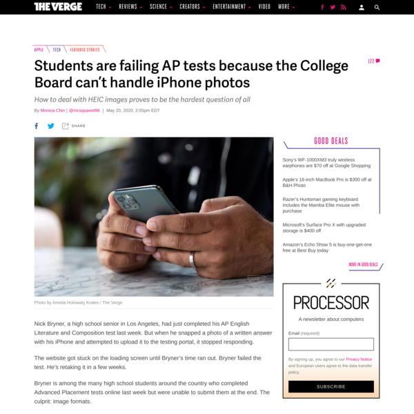 Students are failing AP tests because the College Board can't handle iPhone photos - The Verge