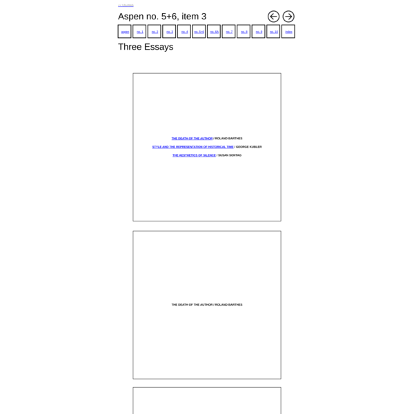 Aspen no. 5+6, item 3: Three Essays