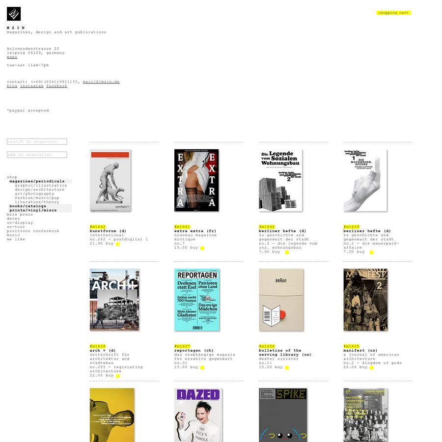 magazines/periodicals graphic/illustration design/architecture art/photography fashion/music/pop literature/theory